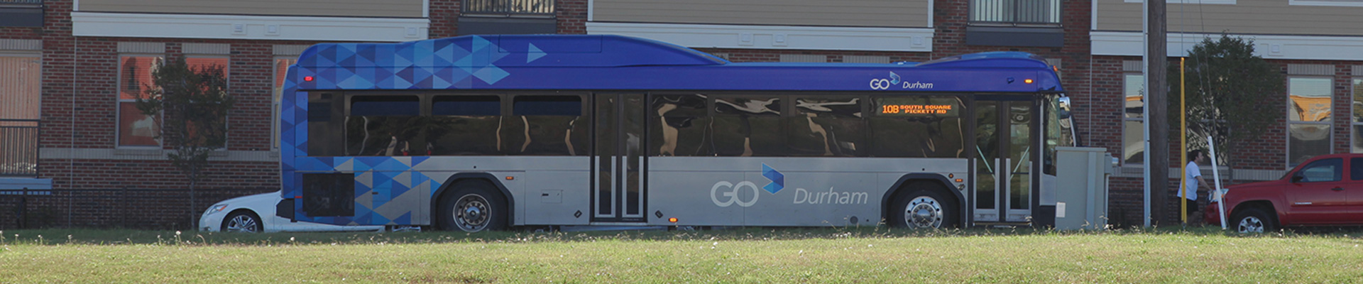 GoDurham Bus driving near Durham Station