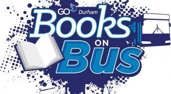 image of books on bus